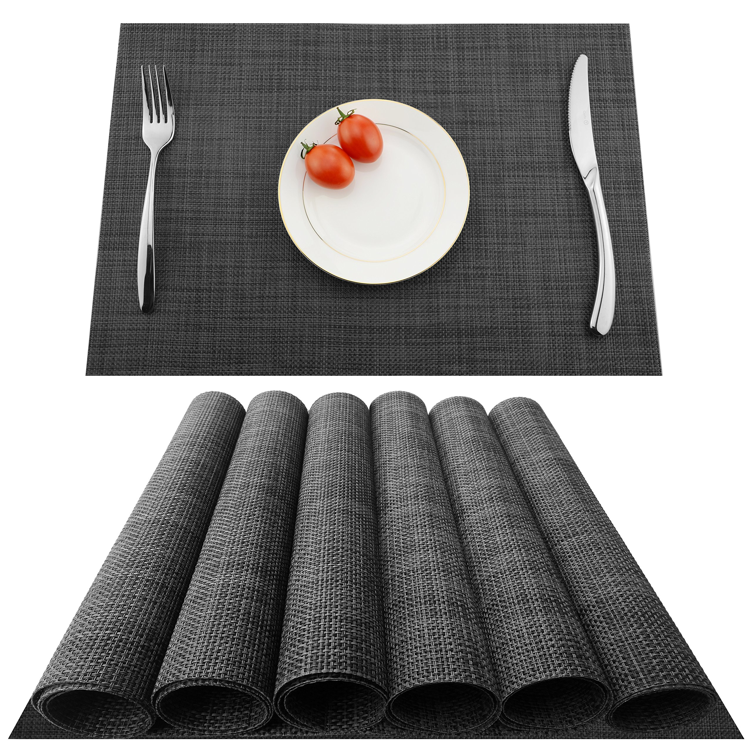 KOKAKO Placemats Heat-Resistant Anti-skid Washable Dining Table Place Mats PVC Kitchen Table Mats By, Set of 6(Dark Gray)