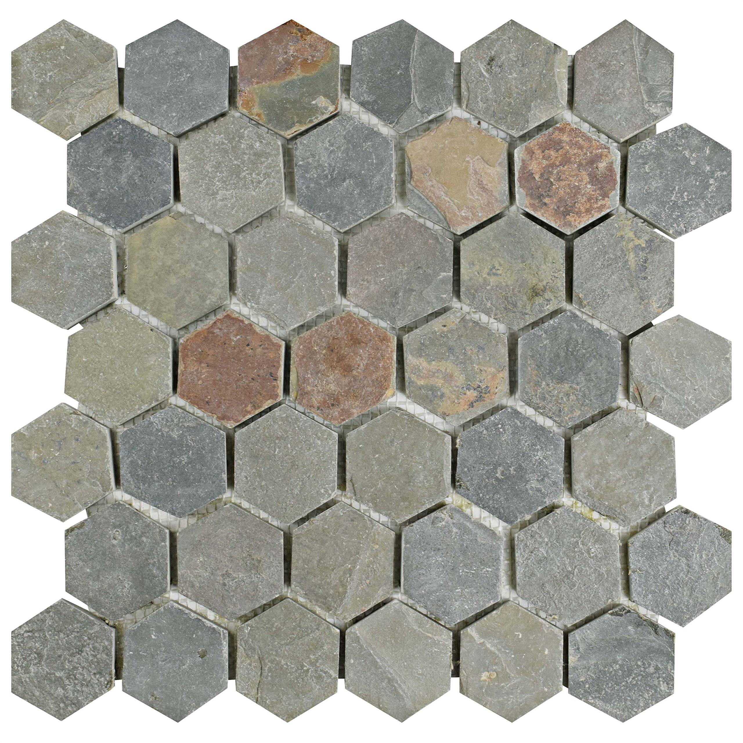 SomerTile SCRHXSM Cliff Hexagon Multi Slate Natural Stone Mosaic Floor and Wall Tile, 12'' x 12'', Grey/Red/Orange/Brown/Yellow by SOMERTILE