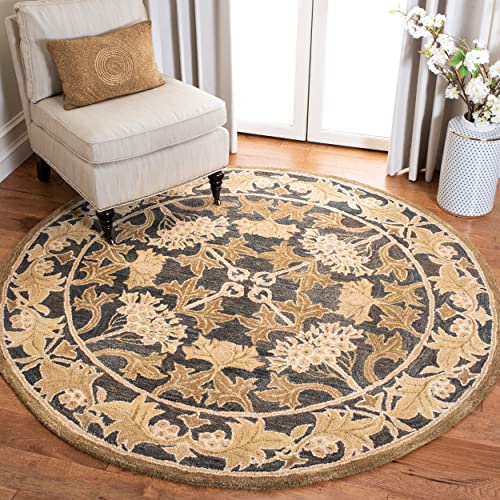 Safavieh Anatolia Collection AN541A Handmade Traditional Oriental Navy and Sage Wool Round Area Rug 6 Diameter