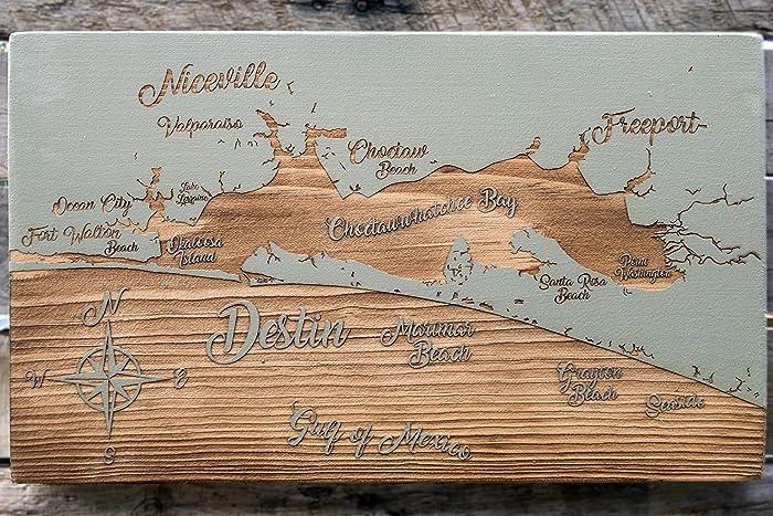 Amazon com: Destin, Florida Whimsical wood engraved map