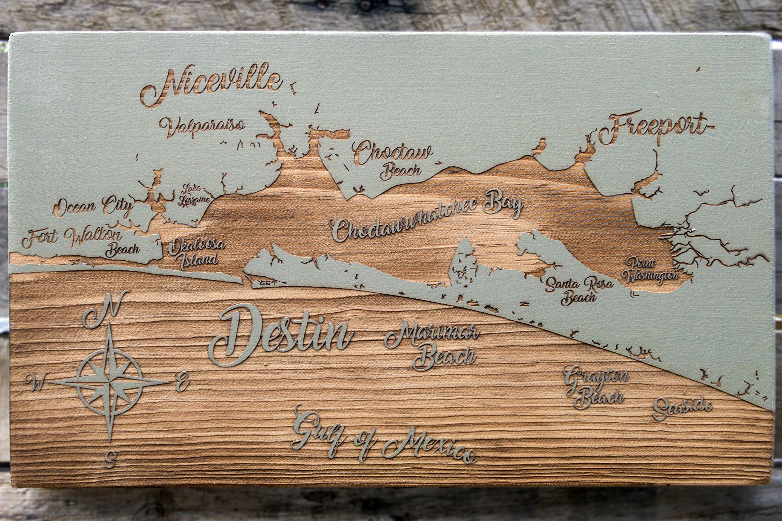 Destin, Florida Whimsical wood engraved map