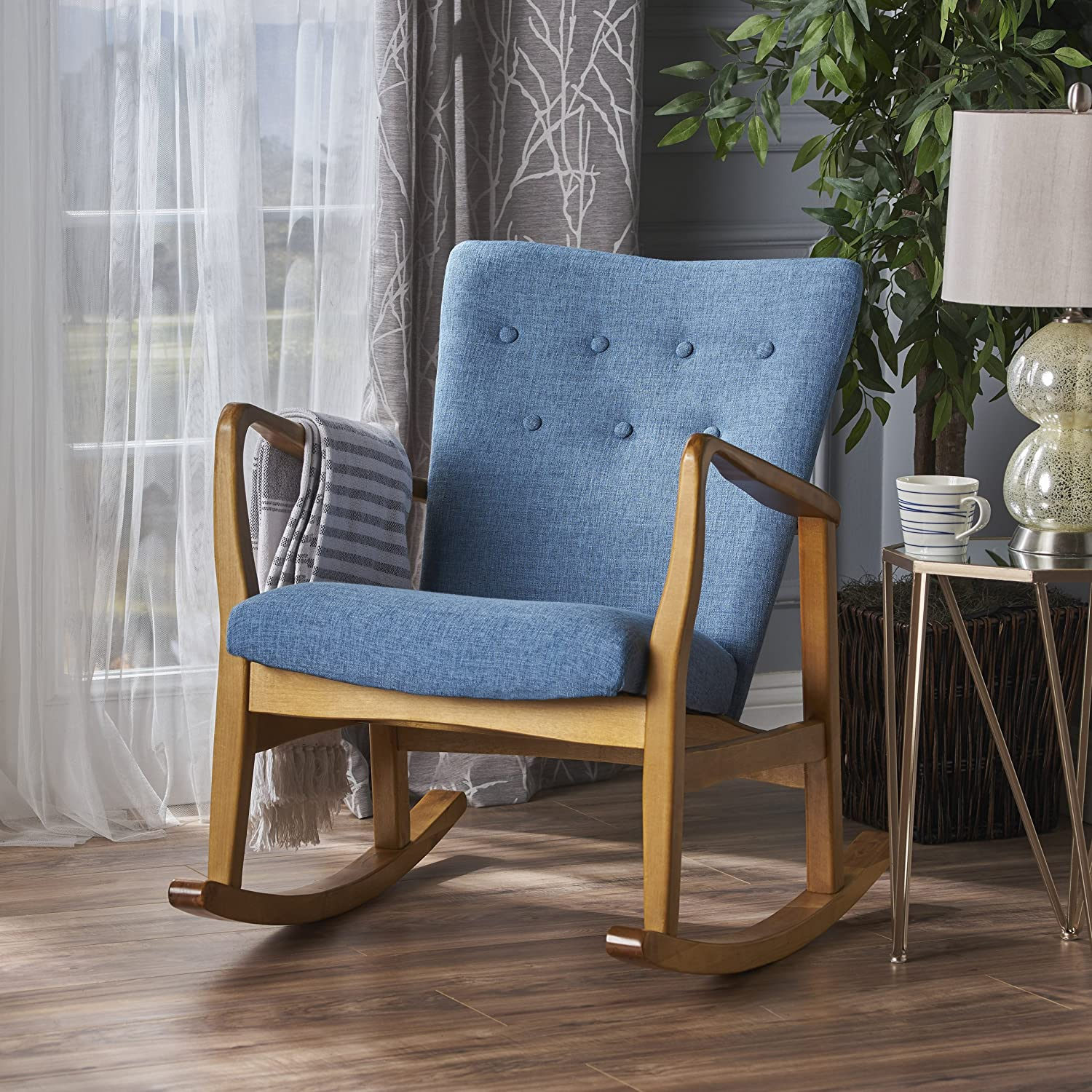 Christopher Knight Home 301994 Collin Mid Century Fabric Rocking Chair, Muted Blue, Light Walnut