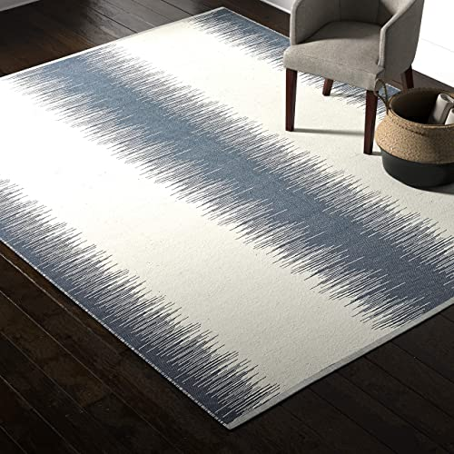Rivet Abstract Reflections Modern Wool Area Rug, 8 x 10 Foot, Navy Blue