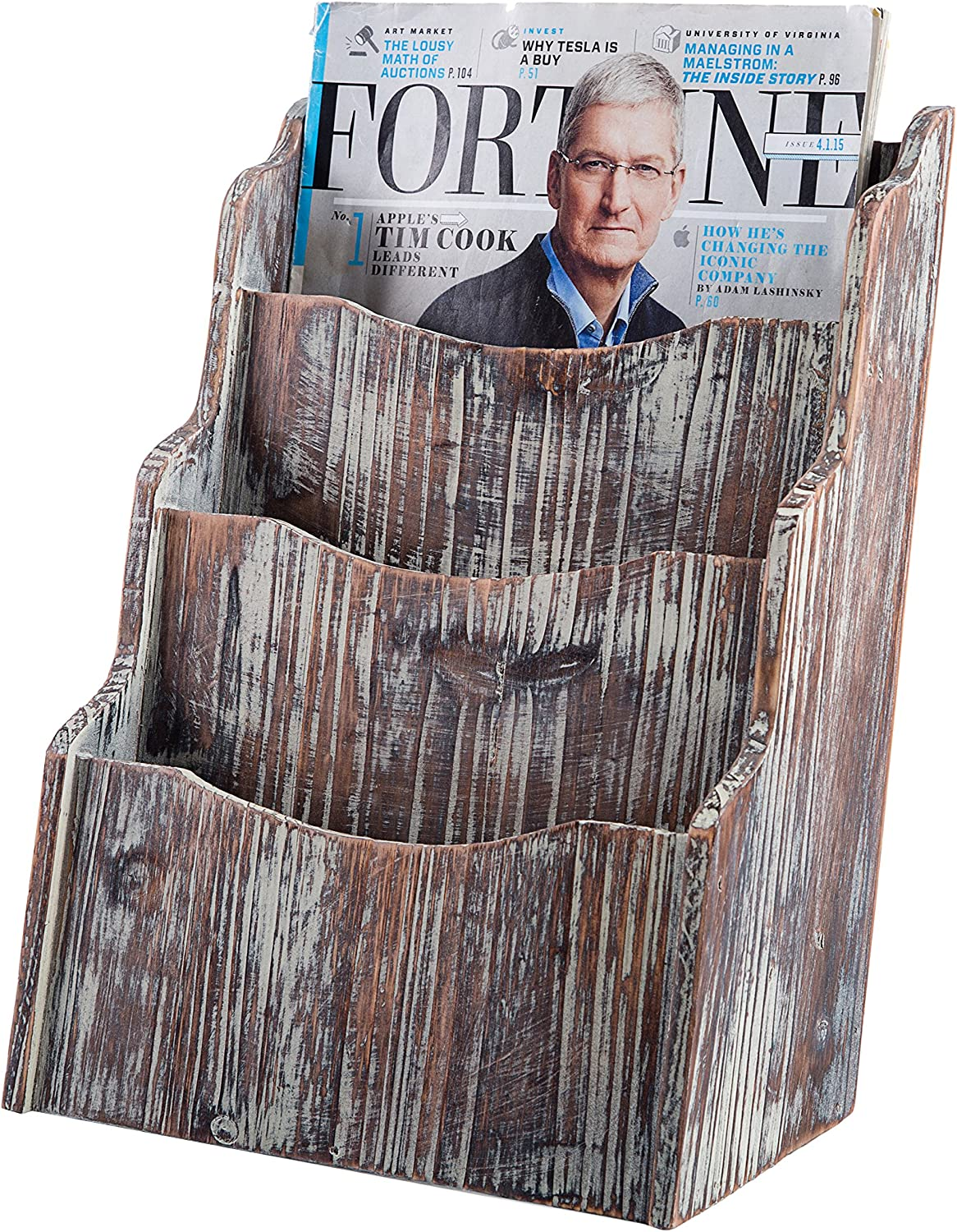 MyGift 3-Compartment Rustic Torched Wood Magazine Rack Holder