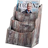 3-Compartment Rustic Torched Wood Desktop Magazine Rack / Document Holder Stand and Organizer