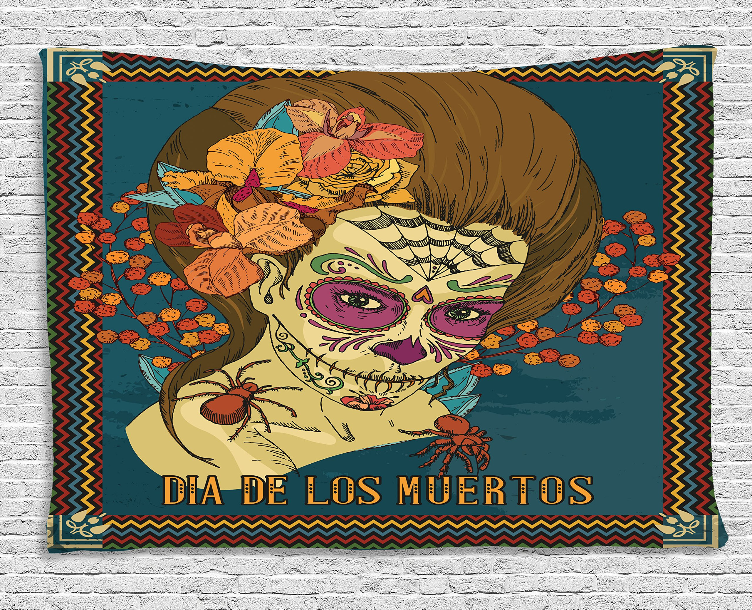 Ambesonne Day of The Dead Decor Tapestry, Dia de Los Muertos Skull Girl with Roses Hearts Print, Wall Hanging for Bedroom Living Room Dorm, 80 W X 60 L inches, Petrol Blue Caramel Amber