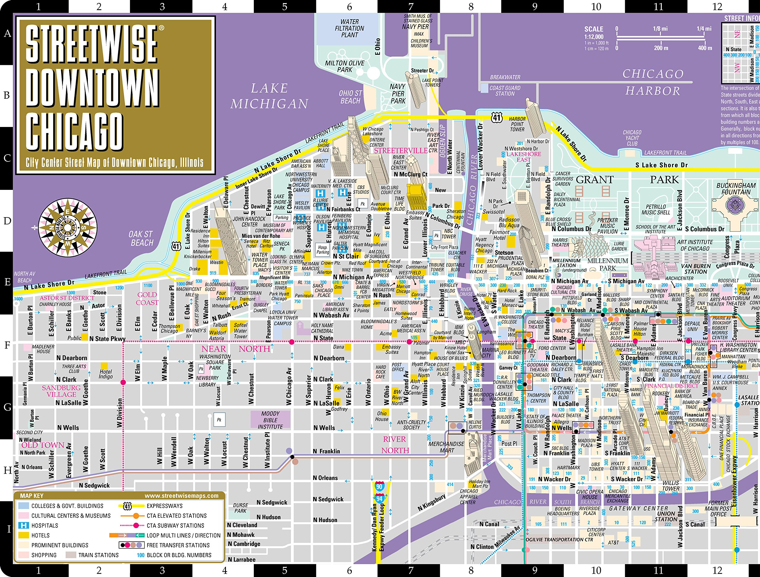 Streetwise Downtown Chicago Map Laminated Street Map of Downtown – Tourist Map Of Downtown Chicago