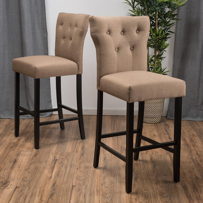 Amazon.com: Great Deal Furniture (Set Of 2) Carlson Mocha Brown Fabric  Counter Stool: Kitchen U0026 Dining