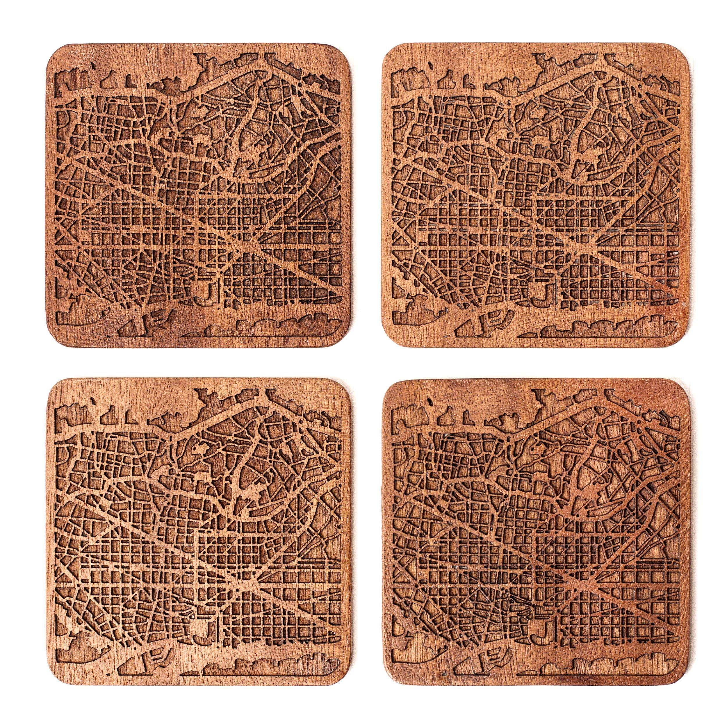 Barcelona Map Coaster by O3 Design Studio, Set Of