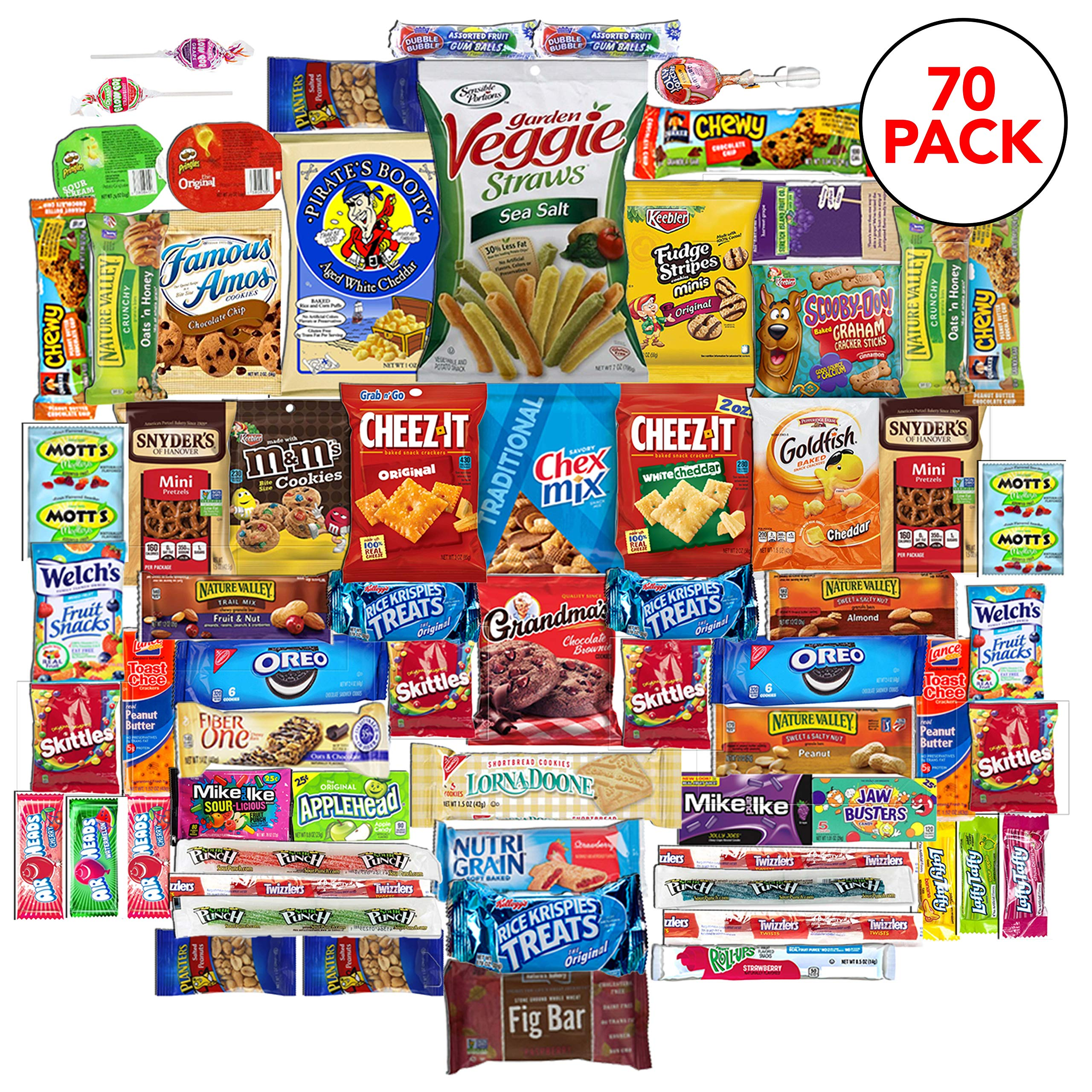 The Snack Bar - Snack Care Package (70 count) - Variety Assortment with American Candy, Fruit Snacks, Granola Bars, Chips plus, Gift Snack Box for Lunches, Office, College Students (70)