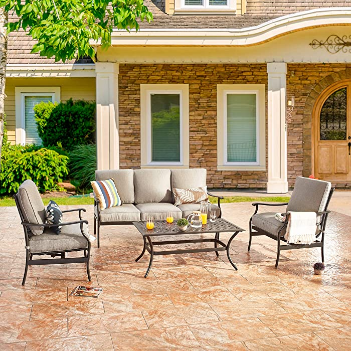 LOKATSE HOME 4 Pcs Patio Conversation Set Outdoor Cushioned Furniture with Loveseat 2 Single Chairs, Coffee Table, Steel Frame, Wrought Iron Look, Grey