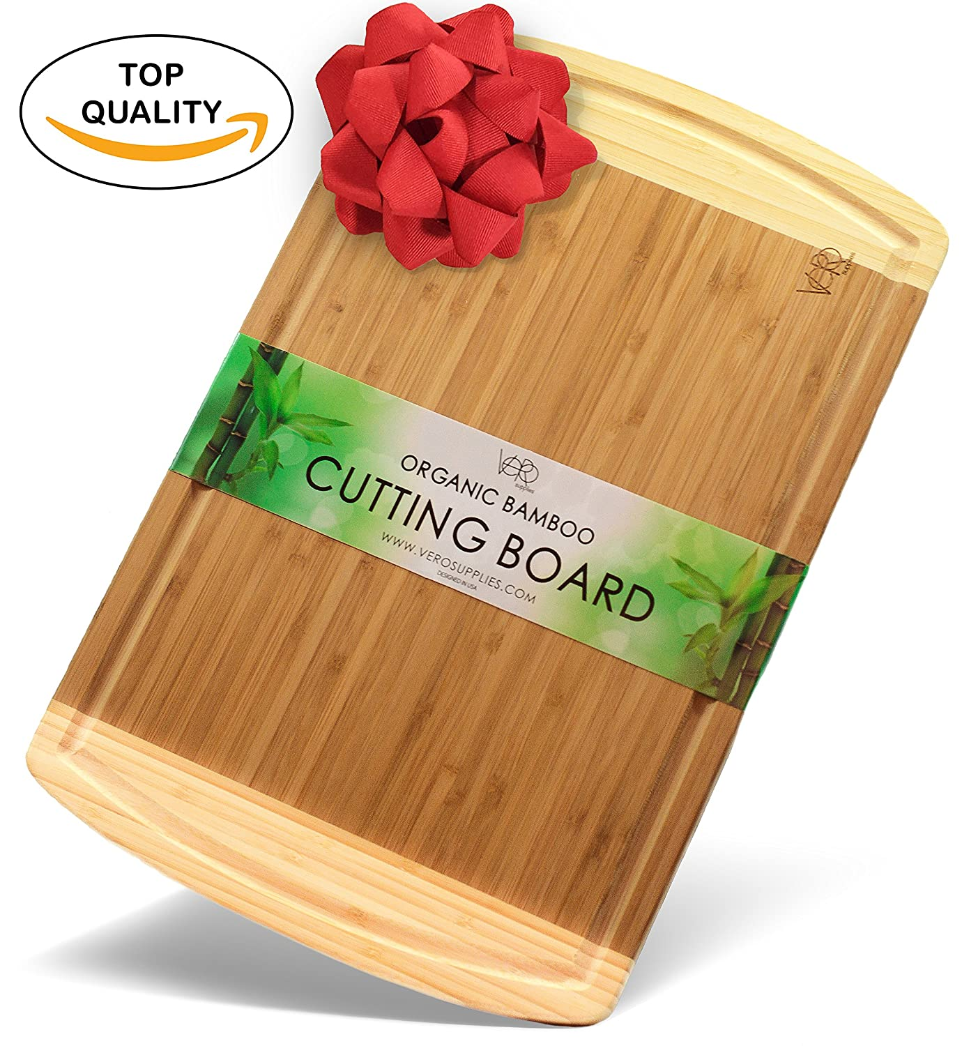 ♻ EXTRA LARGE BAMBOO cutting board with drip juice groove - ORGANIC and ANTIMICROBIAL durable thick wood chopping board - The best Wedding or Housewarming gift present