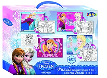 Vamos 060528 Puzzle 4 In 1 Da Colorare 2 Lati Frozen La