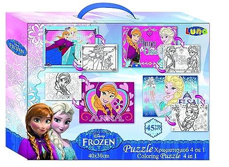Vamos 060528 – Puzzle 4 en 1 (para Colorear – 2 Lados – Frozen/