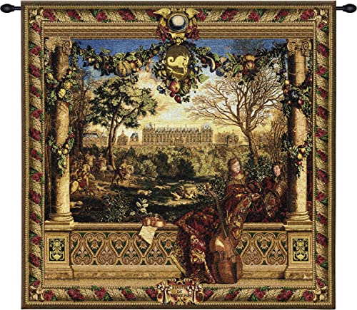 Le Chateau de Monceau by Louis Carrogis Woven Tapestry Wall Art Hanging Louis XIV Palace Garden with String Musicians 100 Cotton USA Size 53×53