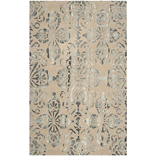 Safavieh Dip Dye Collection DDY719M Handmade Geometric Medallion Watercolor Camel and Grey Wool Area Rug 3 x 5