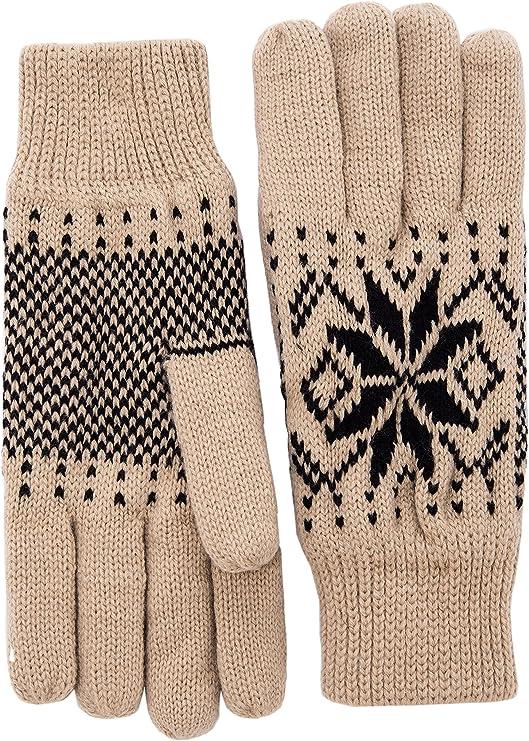 Wantdo Women Warm Fleece Lining Knit Gloves