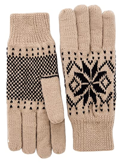 3e0a8e6f0 Wantdo Women's Warm 3M Thinsulate Fleece Lining Knit Gloves Thick Snowflake  Pattern Winter Mittens One Size at Amazon Women's Clothing store: