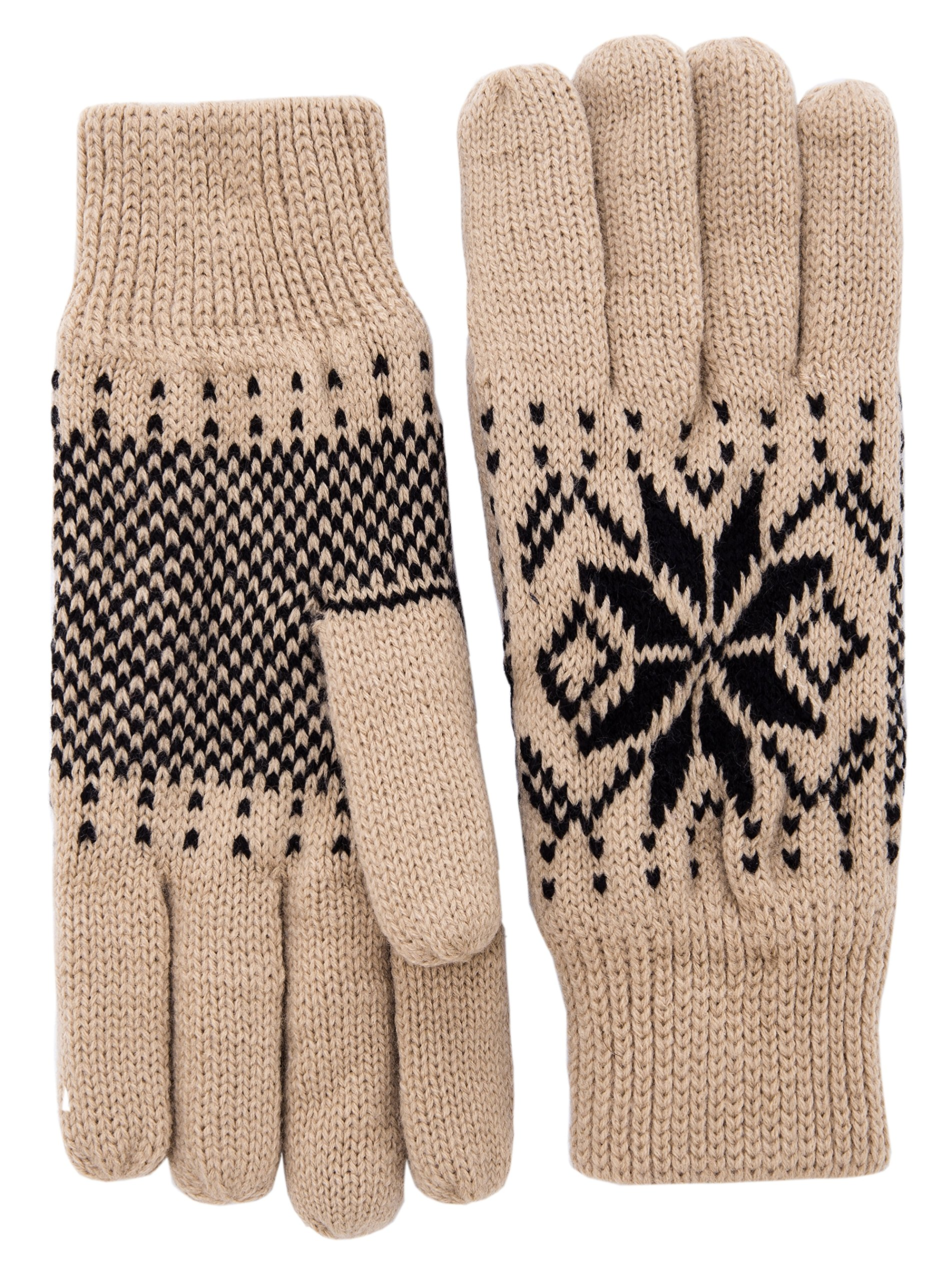 Wantdo Women's Warm 3M Thinsulate Fleece Lining Knit Gloves Thick Snowflake Pattern Winter Mittens One Size