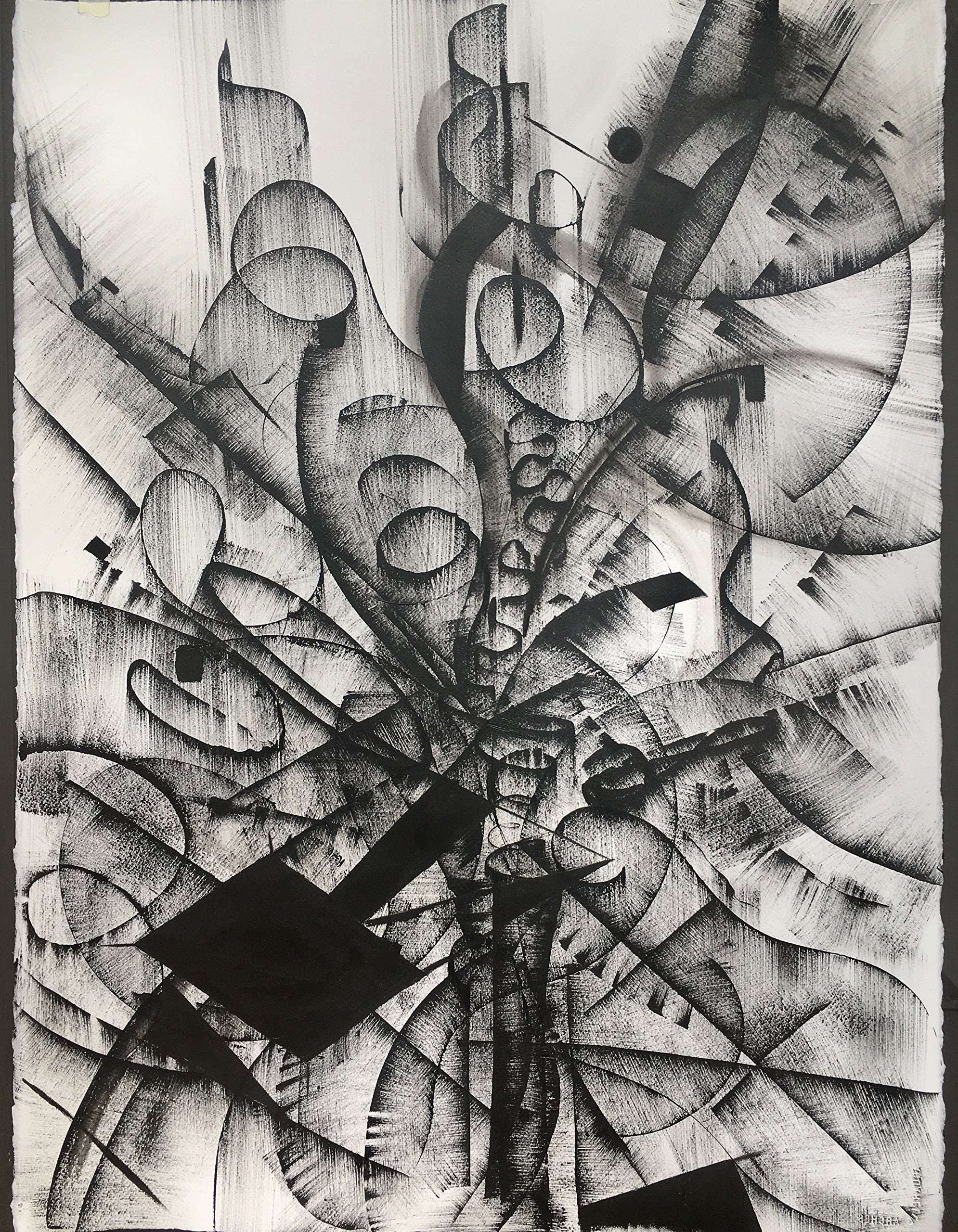 Black & White Abstract Drawing #4 by