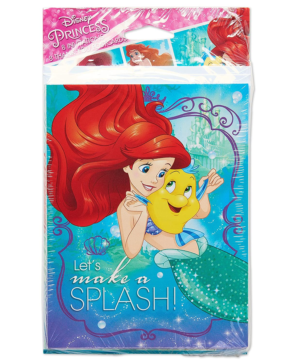 American Greetings The Little Mermaid Invite And Thank You Combo Pack 8 Count