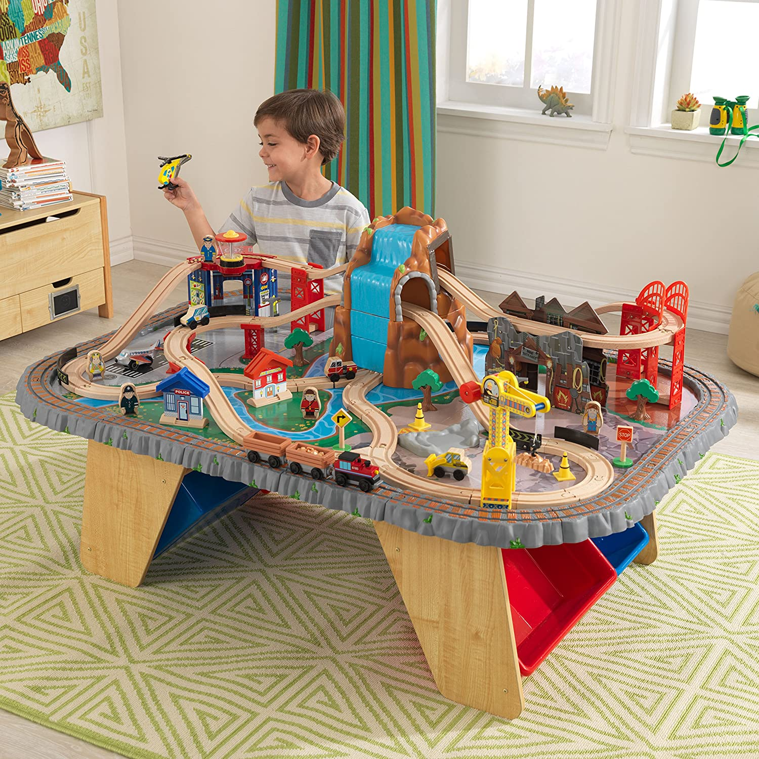 KidKraft Waterfall Junction Train Table and Set 17498.0