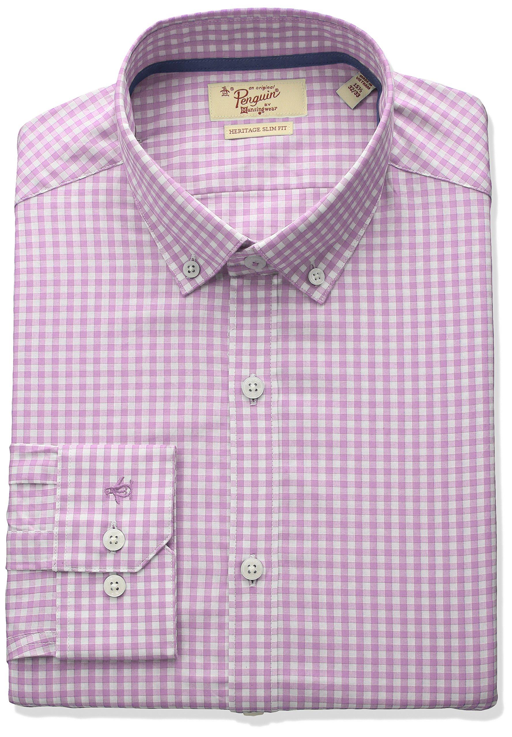 Original Penguin Men's Slim Fit Button Down Collar Dress Shirt, Pink Gingham, 16.5 34/35