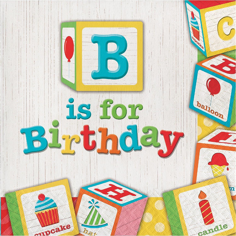 ABC Blocks Birthday Napkins, 48 ct