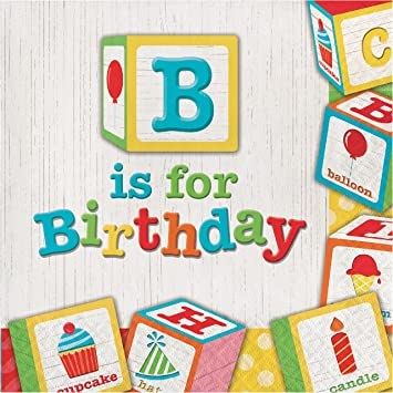 Amazon.com: ABC Blocks Birthday Napkins, 48 ct: Health & Personal Care