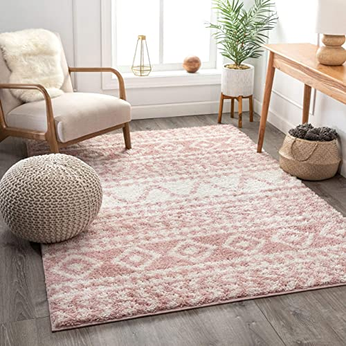 Well Woven Madison Shag Cossima Pink Tribal Moroccan 7 10 x 10 6 Area Rug