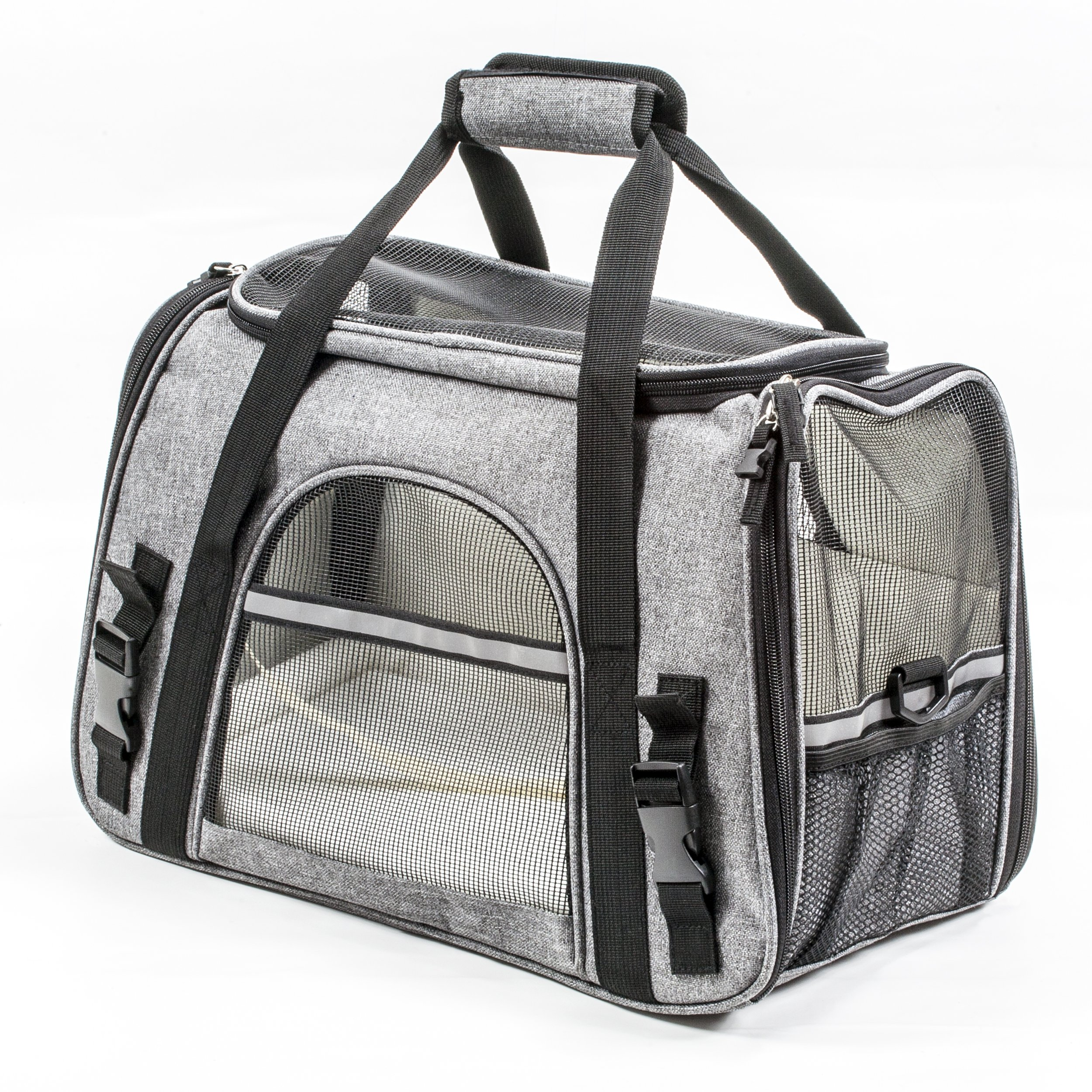 Pawfect Pets Pet Travel Carrier, Soft-Sided with Two Pet Mats for Small Dogs and Cats (Grey) by Pawfect Pets (Image #6)
