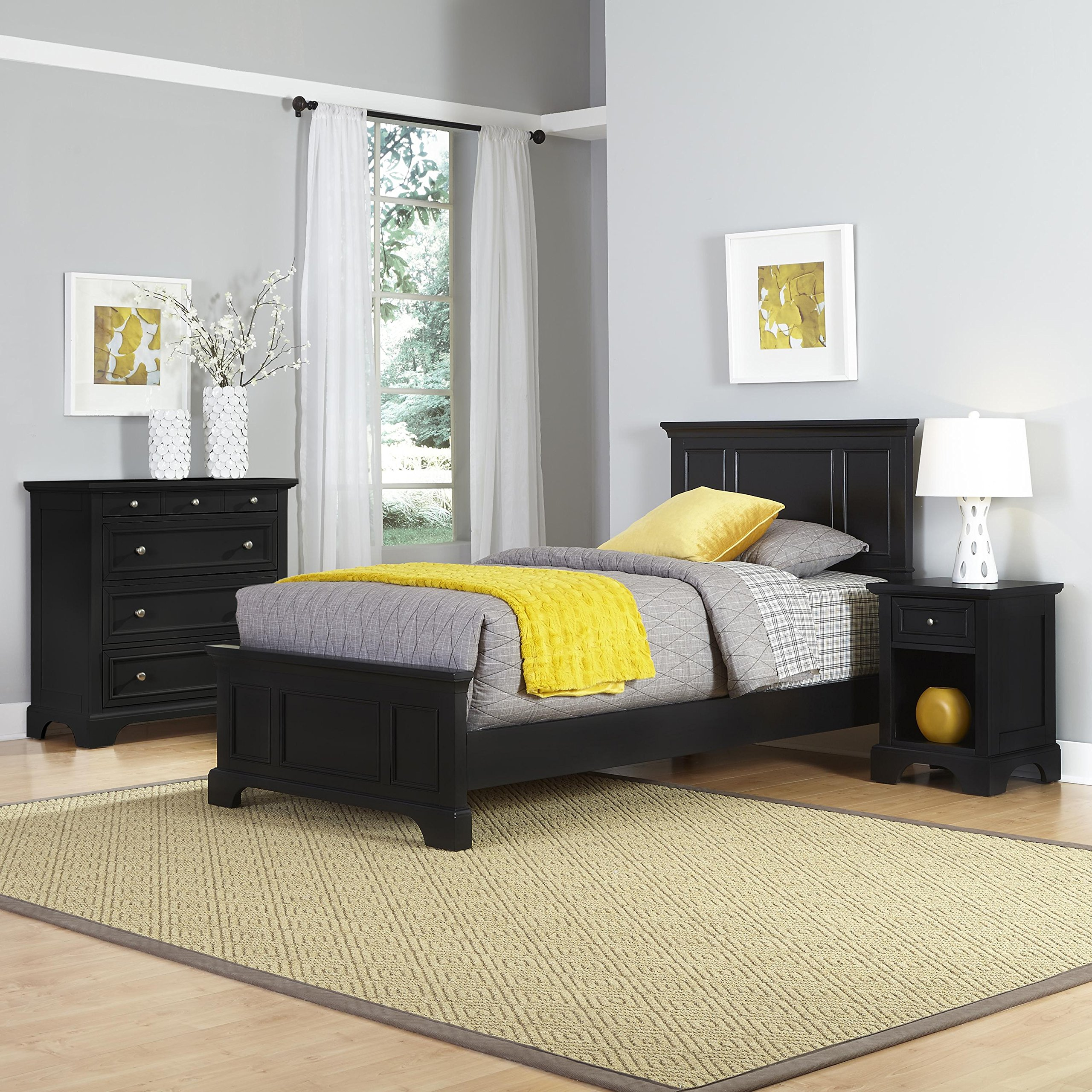 Bedford Black Twin Bed, Night Stand and Chest by Home Styles