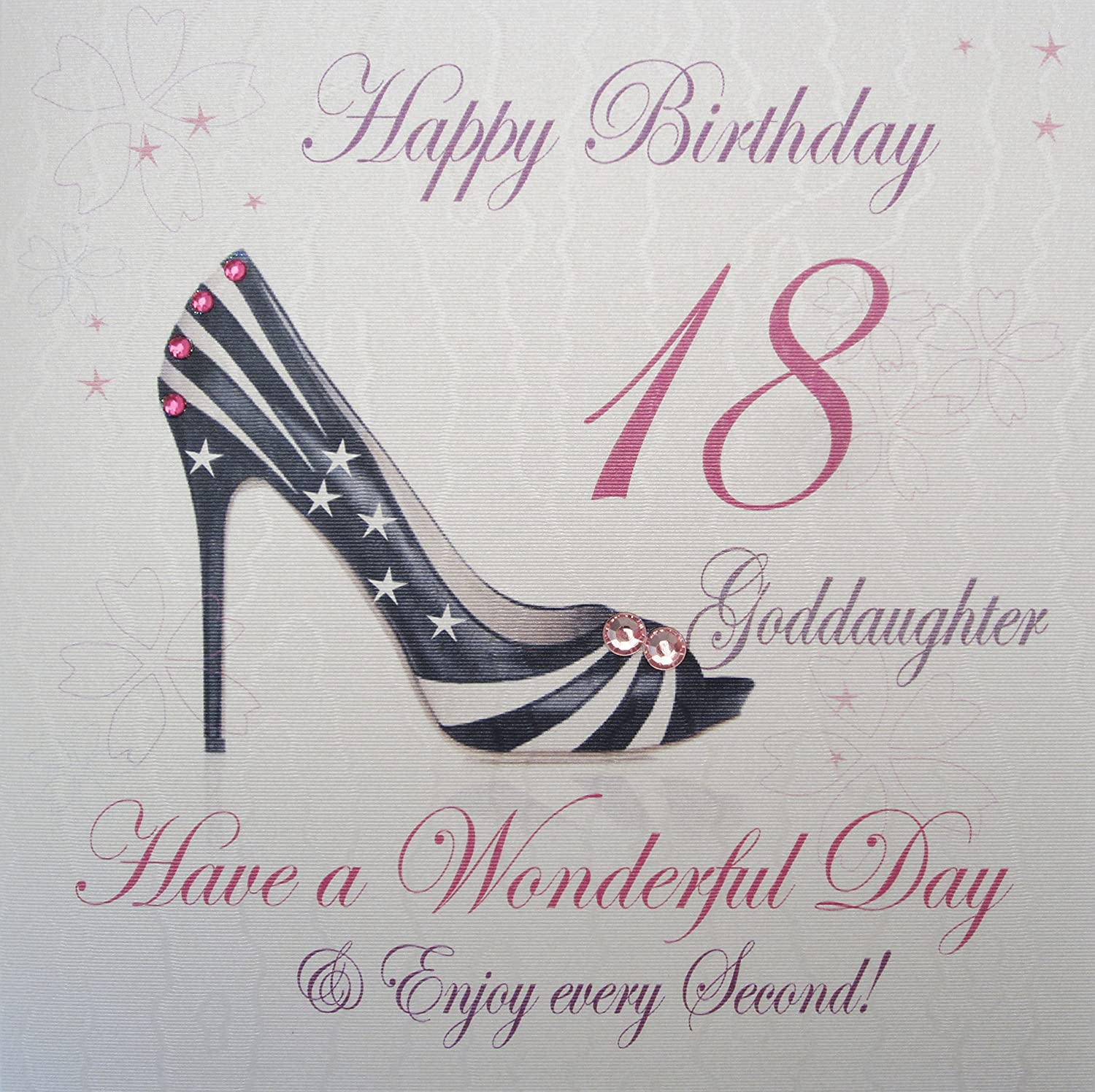 WHITE COTTON CARDS Happy 18 Wonderful Day Handmade Birthday Card Goddaughter 18th