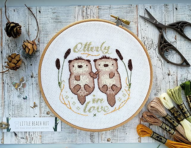 Diy Wedding Gifts.Cute Otter Cross Stitch Embroidery Kit Wedding Gifts For Couples