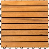 VIFAH V355 Interlocking Acacia Plantation Hardwood Deck Tile 8-Slat Design, Teak Finish, 11 by 11 by 1-Inch