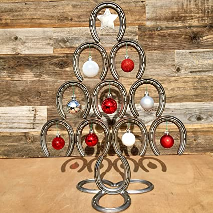 Horseshoe Christmas Tree.Amazon Com Rustic Horseshoe Christmas Tree With Star And