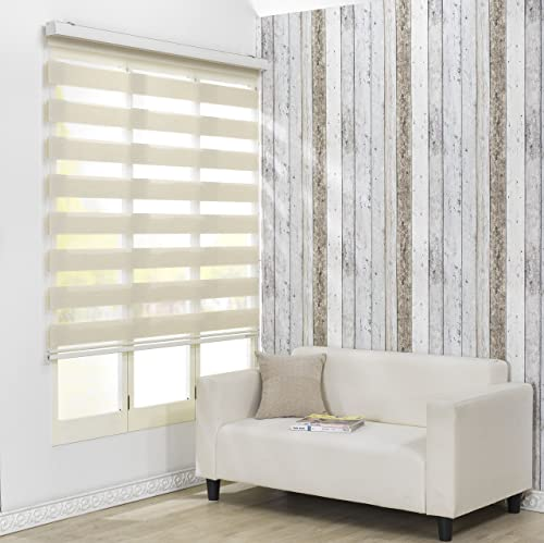 Foiresoft Custom Cut to Size, Winsharp Combi Darin, Ivory, W 71 x H 47 inch Zebra Roller Blinds, Dual Layer Shades, Sheer or Privacy Light Control, Day and Night Window Drapes, 20 to 110 inch Wide
