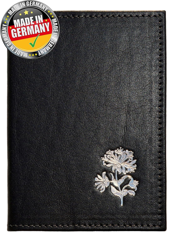 OPTEXX® RFID Reisepass Schutzhülle Baltica Flora Schwarz-Silver mit OPTEXX® schutz Baltica noir-argent Flora
