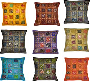 Marubhumi Indian Traditional Handmade Decorative Cushion Covers Patchwork, 16 X 16 Inches (Design #1)