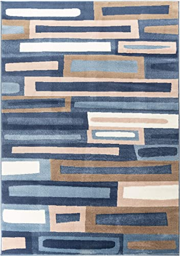 Romance Collection Style 915 Blue Light Blue Multi Colored Geometric Abstract Area Rug 6 .6 Round 78 inch