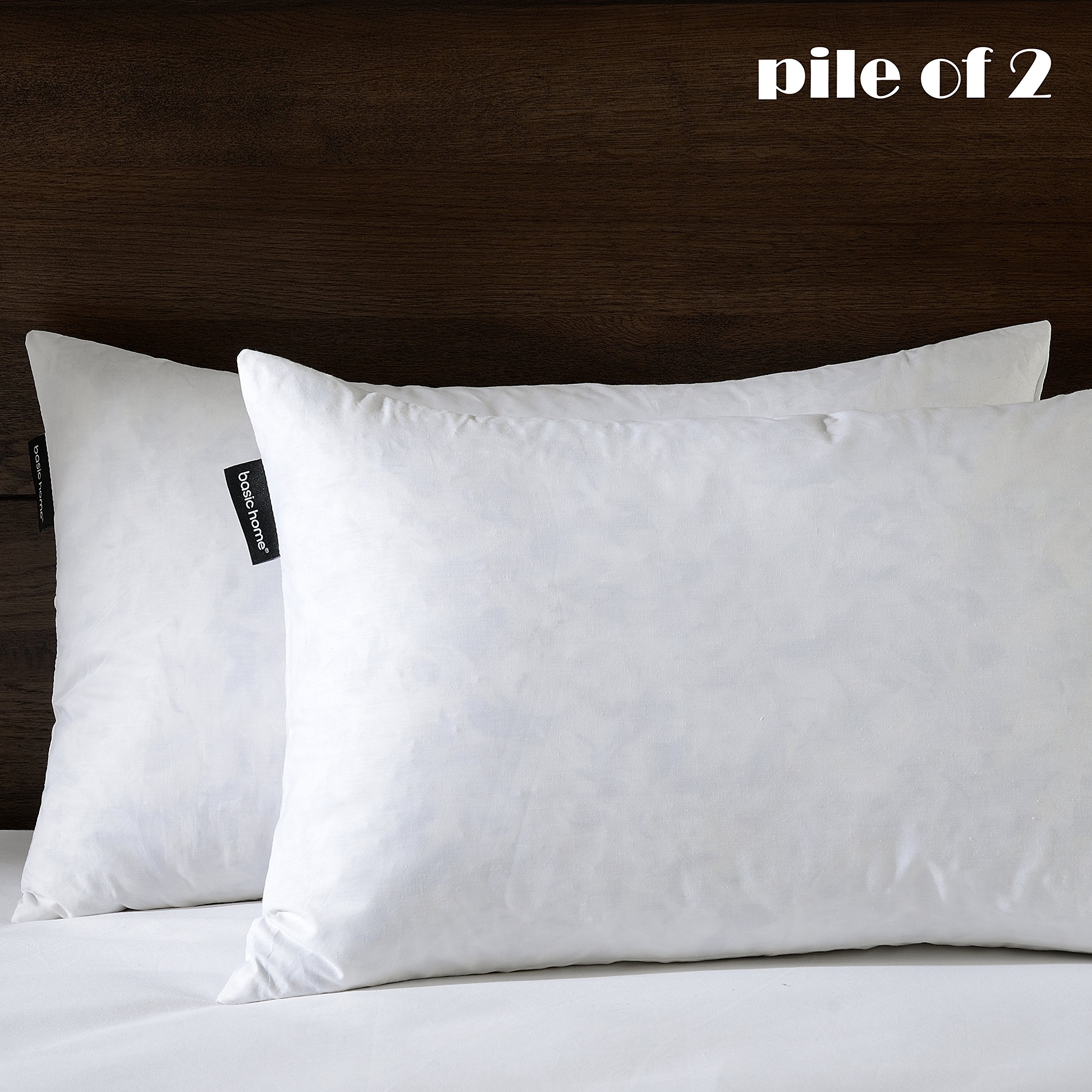 12''X20'' Oblong Pillow Insert, 95% Feather 5% Down, 100% Cotton Fabric, Set of 2, White, BASIC HOME