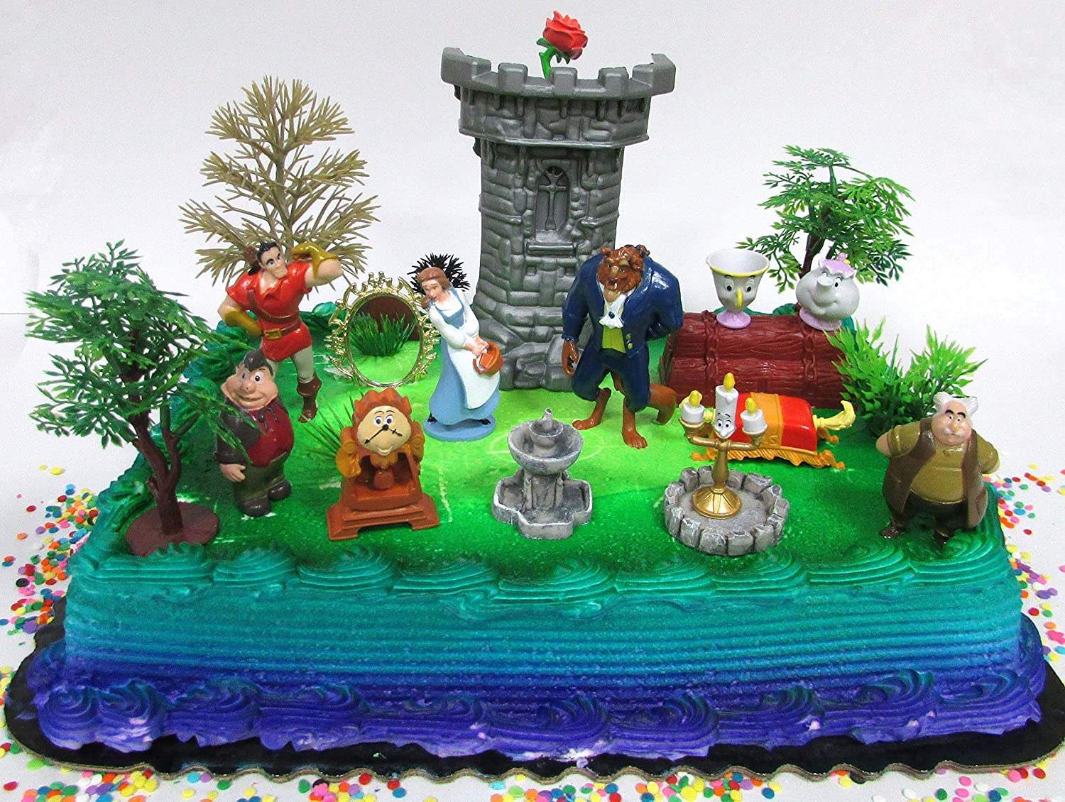 Cake Toppers Beauty and The Beast Birthday Set Featuring Figures and Decorative Themed Accessories