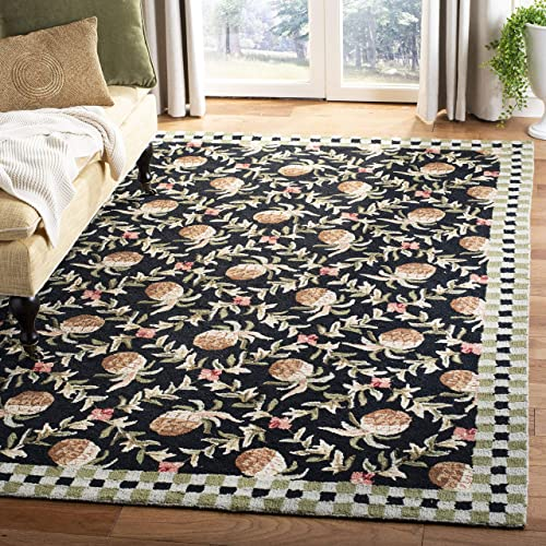 Safavieh Chelsea Collection HK164A Hand-Hooked Black and Ivory Premium Wool Area Rug 7'9″ x 9'9″