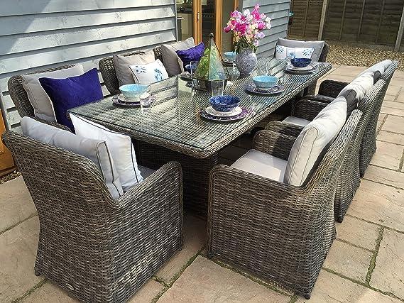 Amazon.com: Venice Lujo rectangular Muebles de jardín mesa y ...