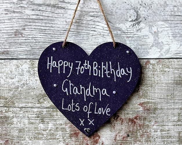 MadeAt94 Handmade Personalised Grandma Gift Purple Heart Plaque Happy 70th Birthday