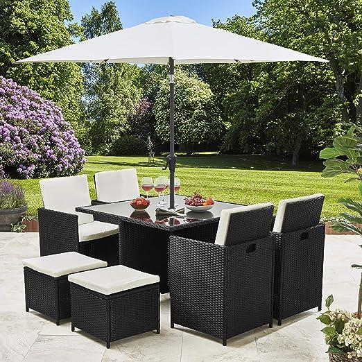 Ratán cubo conjunto muebles de jardín 8 plazas juego de mimbre al aire libre con sombrilla, negro: Amazon.es: Jardín