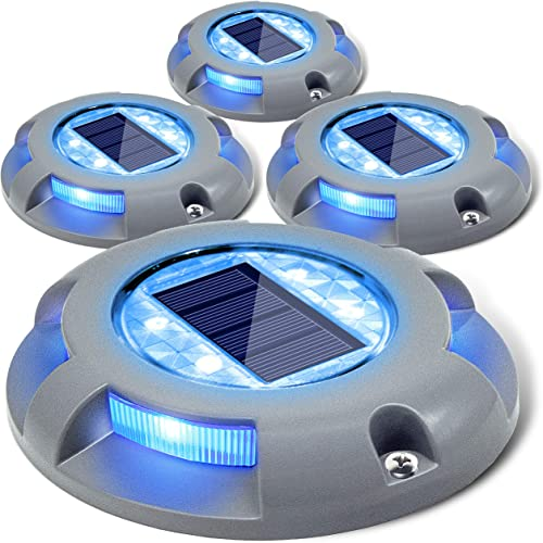 Siedinlar Solar Deck Lights Driveway Dock Light LED Solar Powered Outdoor Waterproof Road Markers for Garden Step Sidewalk Stair Ground Pathway Yard 4 Pack Blue