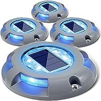 Siedinlar Solar Lights Outdoor Garden 4 Blue LED light Waterproof Deck Driveway Light Pathway Step Garden Stairs…
