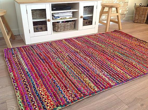 Alfombra india con trenzado yute brillante y algodón de colores, diseño a rayas, 120 x 180 cm: Amazon.es: Hogar