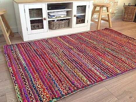 Tappeti In Tessuto Riciclato : Second nature online grande intrecciato iuta multicolore tessuto